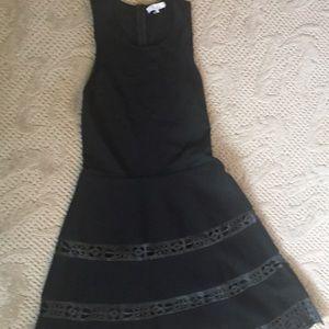Parker leather trim fit/flare dress
